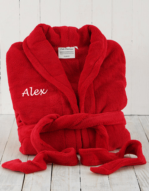 bath-and-body: Personalised Red Fleece Gown!