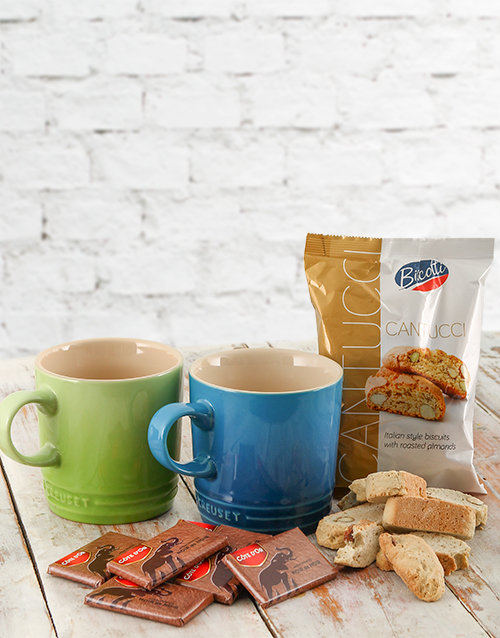 homeware: Le Creuset Coffee Mugs with Chocolates & Biscotti!