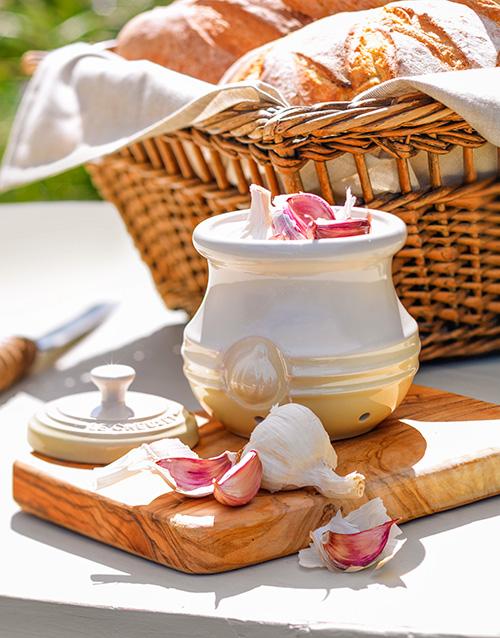 birthday: Le Creuset Dune Garlic Keeper!