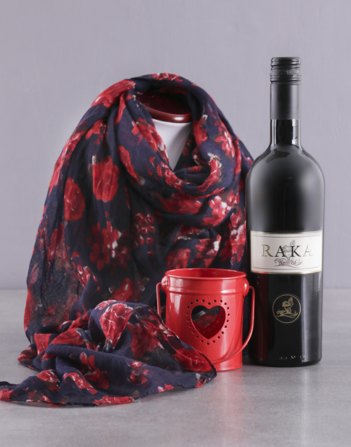 anniversary: Red Polka Dot Scarf and Wine Gift!