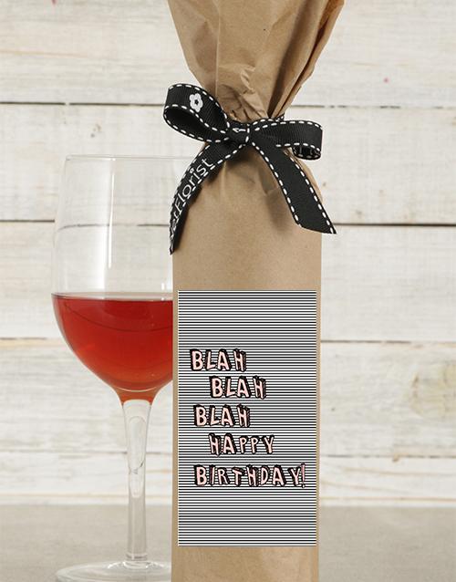 birthday: Blah Blah Birthday Wine in Craft Paper!
