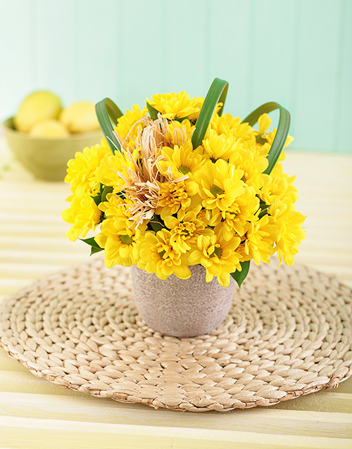 get-well: Yellow Daisies in a Pottery Vase Petite!