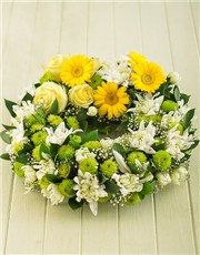 Picture of Yellow Gerbera and Rose Wreath!