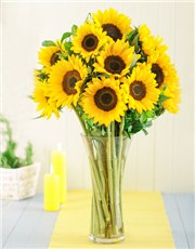 Picture of Sunflowers in a Glass Vase!