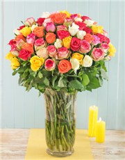 Picture of Tall Glass Vase of 100 Mixed Roses!