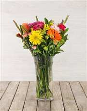 Picture of Vase of Bright Mixed Flowers!