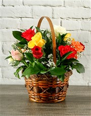 Picture of Mixed Roses in Country Basket!