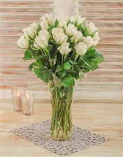 Picture of White Roses in a Glass Vase!