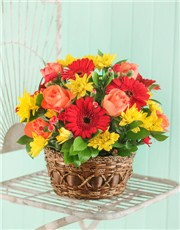 Picture of Seasonal Flowers in a Country Basket!