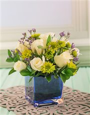 Picture of Small Square Blue Glass Vase with Flowers!