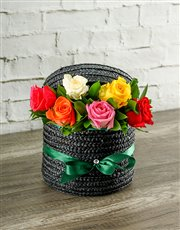Picture of Mixed Roses in a Hatbox!