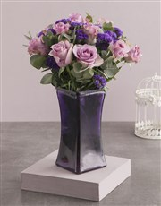 Picture of Roses and Mixes in Purple Square Vase!