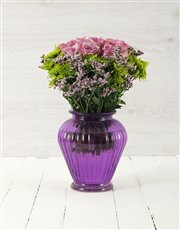 Picture of Roses & Sprays in Purple Lantern Vase!