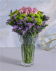 Picture of Roses & Sprays in Clear Crystal Vase!