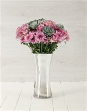 Picture of Roses & Succulents in Silver Flair Vase!
