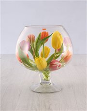Picture of Tulips in a Wine Glass Shaped Vase!