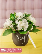 Picture of White Carnations in a Chalkboard Vase!