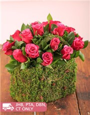 Picture of Cerise Roses in a Moss Basket!