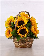 Picture of Woven Basket of Sunflowers!