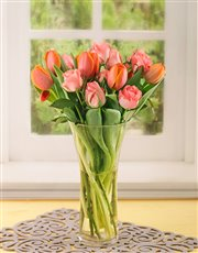 Picture of Roses and Orange Tulips in a Vase!