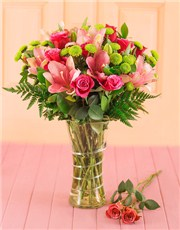 Picture of Cerise Roses and Pink Lilies Gift!