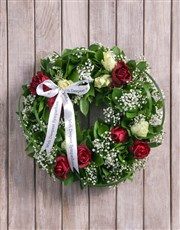 Picture of Condolences Red and White Rose Funeral Wreath!