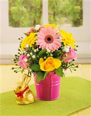 Picture of Pink & Yellow Flowers in a Pail with Lindt Bunny!