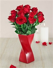Picture of Red Roses in a Red Twisty Vase!
