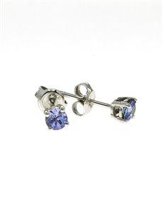jewellery: 9kt White Gold 0,75ct Round Tanzanite Studs!
