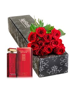 gifts: Red Roses in a gift with Red Door 100ml EDT!