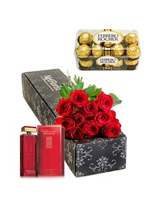gifts: Red Roses and  Red Door 100ml EDT with Choc's!