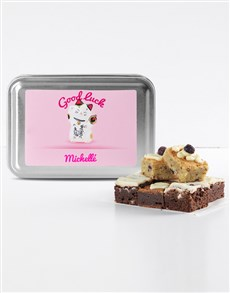 bakery: Personalised Good Luck Kitty Gourmet Brownie Tin!