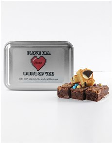 bakery: Personalised Love Pixels Mixed Delights Brownies!