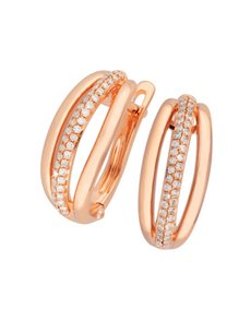 jewellery: 9KT Rose Gold Diamond Tripple Bar Hoop Earrings!