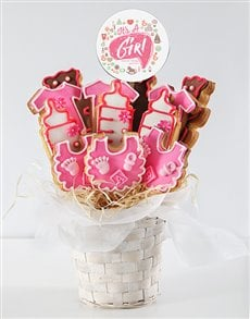 bakery: Personalised Baby Girl Cookie Bouquet!