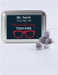 gifts: Personalised Best Teacher Fudge Truffle Tin!