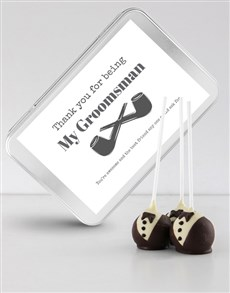 bakery: Tuxedo Cake Pops in a Personalised Tin!