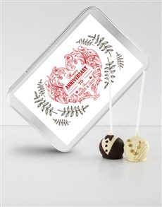 bakery: Anniversary Cake Pops in a Personalised Tin!