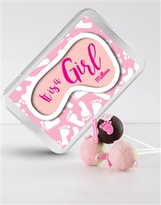 gifts: New Baby Girl Cake Pops in a Personalised Tin!