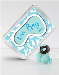 bakery: New Baby Boy Cake Pops in a Personalised Tin!