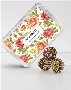 bakery: Chocolate Swirl Cake Pops in a Personalised Tin!
