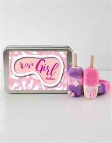 gifts: Baby Girl Cakes on a Stick in a Personalised Tin!