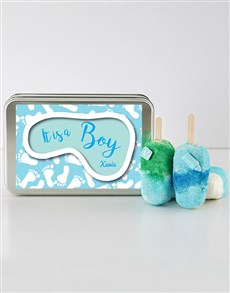 gifts: Baby Boy Cakes on a Stick in a Personalised Tin!