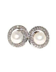 jewellery: 9KT WG Diamond and Pearl Swirl Shape Earrings!