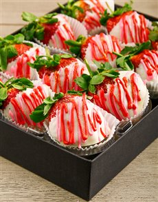 bakery: Red and Pink Milk Chocolate Dipped Strawberries!