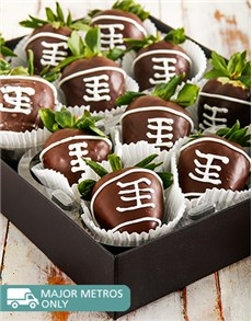 bakery: Rugby Ball Dipped Strawberries!