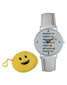 gifts: Emoji Cyber Smiley Weekday White Watch!