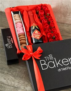flowers: Red Roses with Macaroons and JC Le Roux!