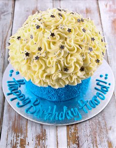 bakery: Blue Happy Birthday Giant Cupcake!