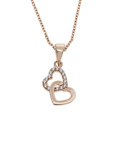gifts: Silver Double Heart RG Cubic Necklace!